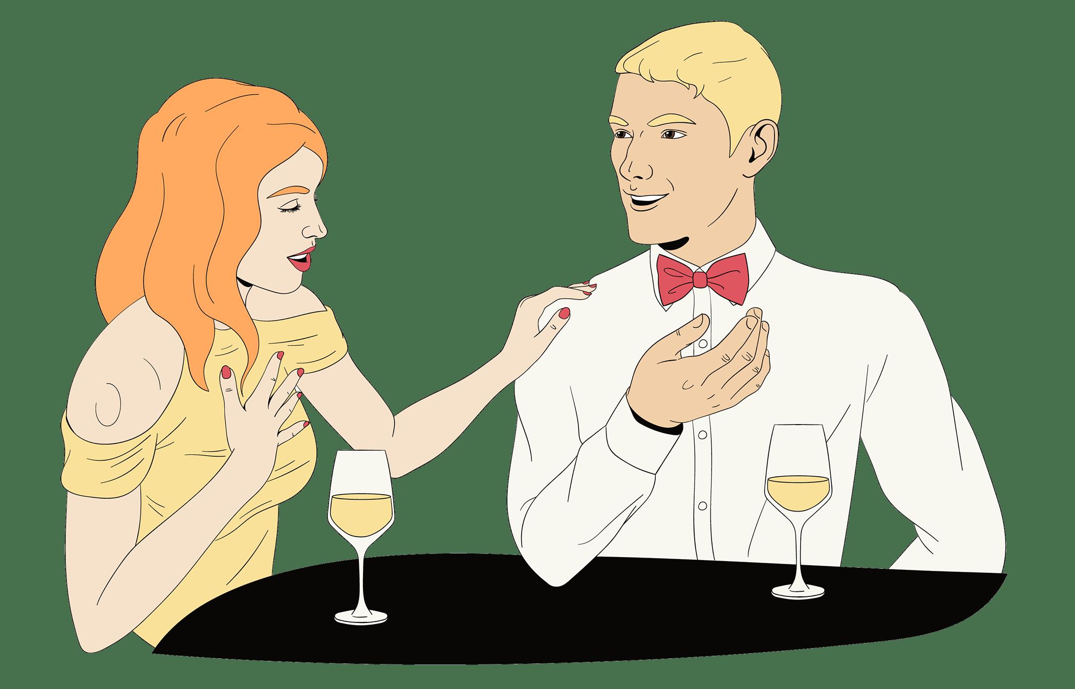 mari et femme s'amusent à leur premier rendez-vous grâce à des questions amusantes