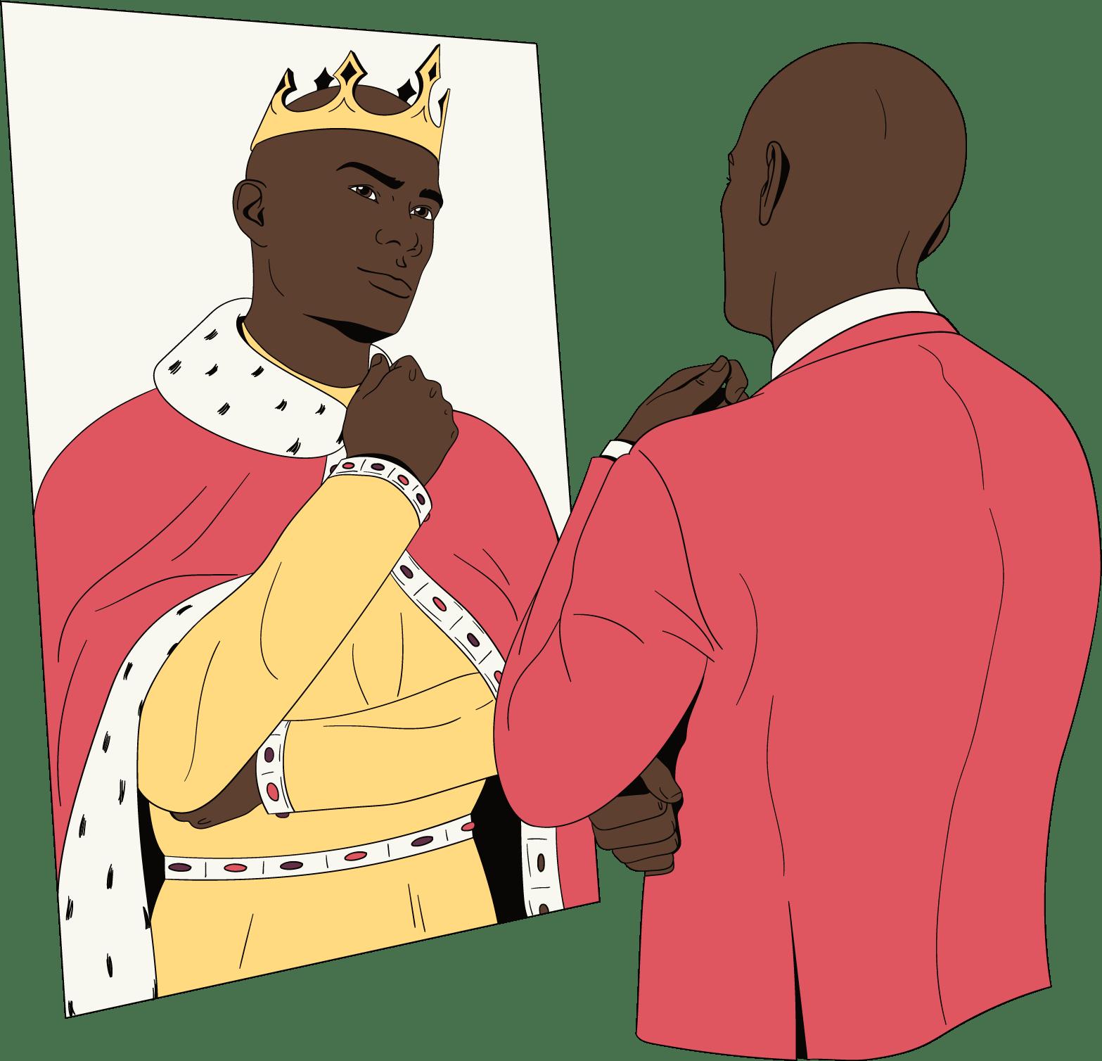 Un homme se regarde dans le miroir et pense qu'il est merveilleux.